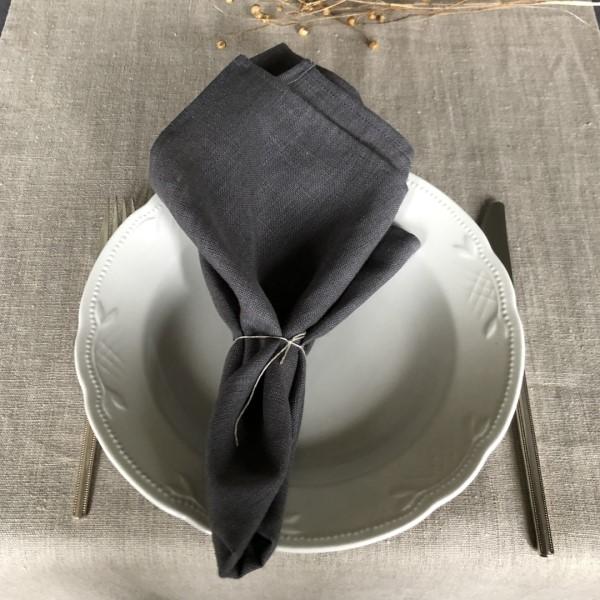ecoinvent hørserviet grå foldet på tallerken